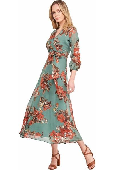 Şamdan Kadın 3298 Yeşil Elbise