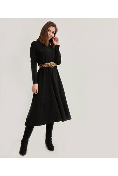 Şamdan Kadın Siyah Kemerli Elbise