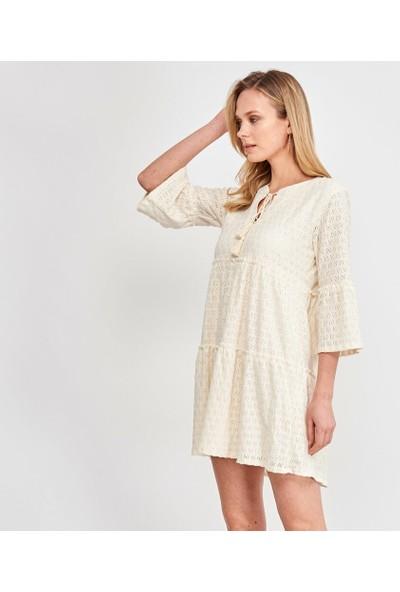 Şamdan Kadın 3307 Beyaz Elbise