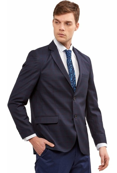 Çetinkaya 6 Drop Lacivert Bordo Ekose Erkek Ceket