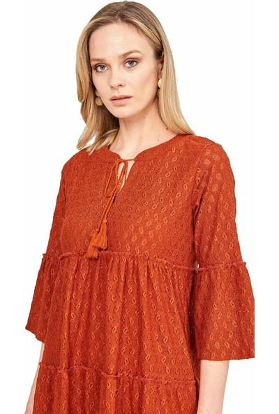 Şamdan Kadın 3307 Kiremit Elbise
