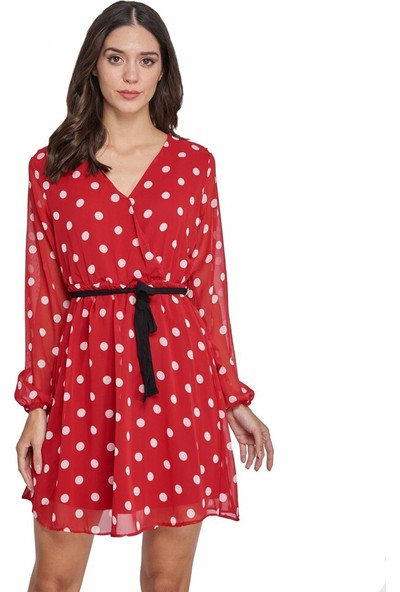Şamdan Kırmızı Puantiyeli Elbise
