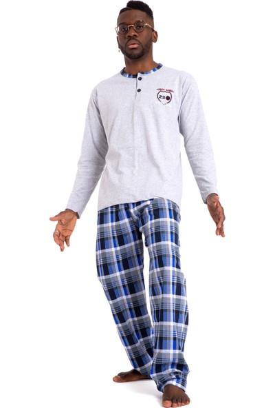Tampap 2105 Ekonomik Mevsimlik Uzun Kol Pamuklu Kareli Erkek Pijama Takımı Gri