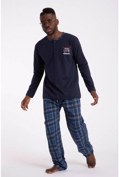 Tampap 2105 Ekonomik Mevsimlik Uzun Kol Pamuklu Kareli Erkek Pijama Takımı Lacivert