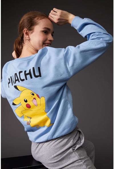 DeFacto Pokemon Lisanslı Oversize Sweatshirt