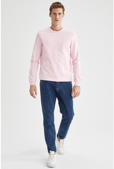 DeFacto Regular Fit Bisiklet Yaka Basic Sweatshirt
