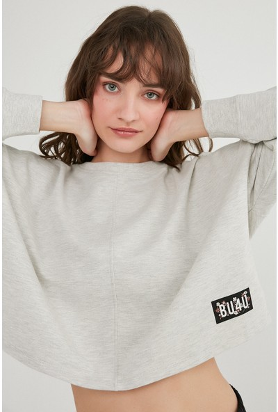 Penti Açık Gri Melanj BU4U Crop Sweatshirt