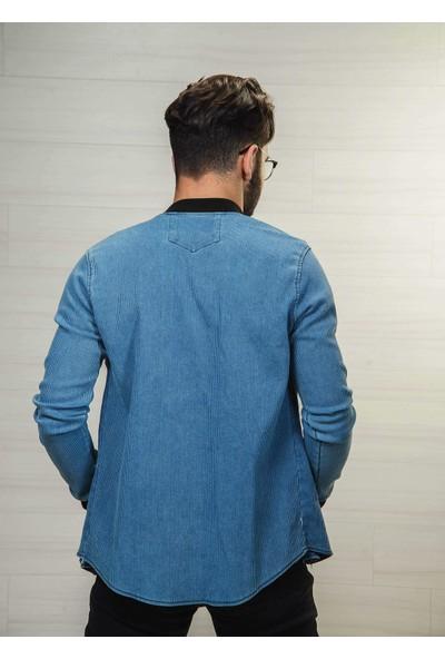 Erkek Açık Mavi Kot Mont Slimfit Ribanalı Çıtçıtlı Online 2019-00048