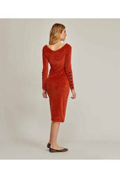 Şamdan Kadın Kiremit Elbise