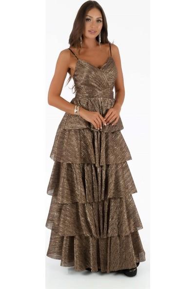 Carmen Gold Askılı Eteği Kat Kat Prenses Abiye Elbise