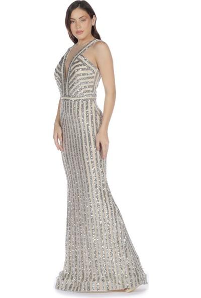 Carmen Bej Çizgili Payetli Balık Abiye Elbise