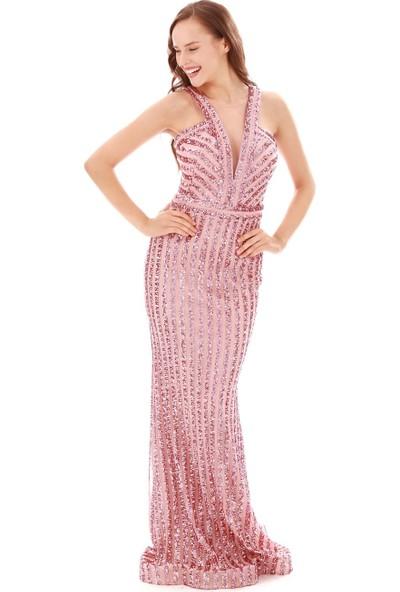 Carmen Pudra Çizgili Payetli Balık Abiye Elbise