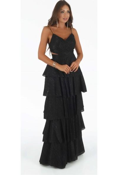 Carmen Siyah Askılı Eteği Kat Kat Prenses Abiye Elbise