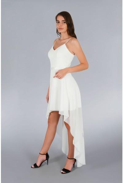 Carmen Ekru Saten Arkası Uzun Askılı Kısa Abiye Elbise
