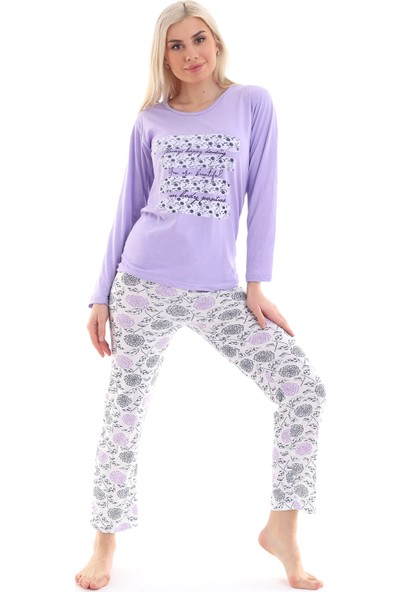 Moda Hitap Kadın Lila Beyaz Çizgili Desen Pijama Takımı