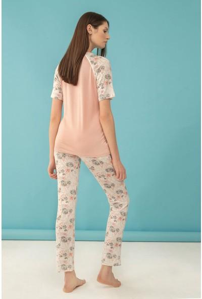 Feyza Kadın Klasik Çiçek Baskılı Patlı Kısa Kol Battal Pijama Takım 4039-