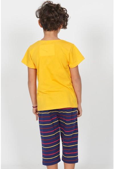 Vienetta Pamuklu Erkek Çocuk Kısa Kol Kaprili Pijama Takım