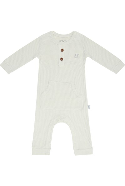 Baboo Modal Kumaş Bebek Tulum Krem Rengi 6 - 12 Ay
