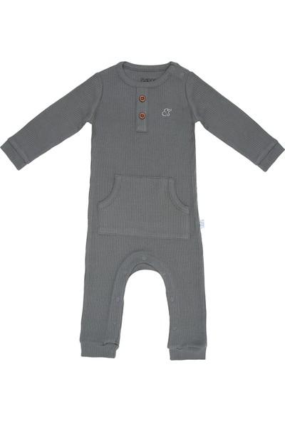 Baboo Modal Kumaş Bebek Tulum Gri 0 - 6 Ay