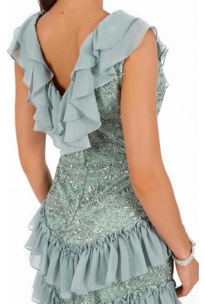 Carmen Çağla Şifon Garnili Dantel Abiye Elbise 36