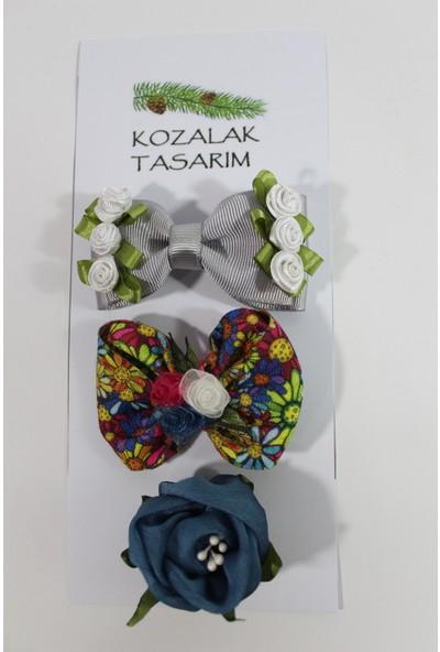 Kozalak Tasarım 3'lü Toka Seti Handmade Güllü