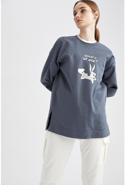 DeFacto Bugs Bunny Lisanslı Relax Fit Sweat Tunik