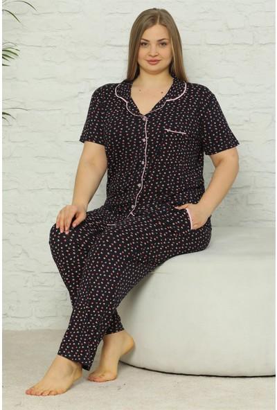 Akbeniz Kadın Pamuklu Cepli Kısa Kol Büyük Beden Pijama Takım 202074