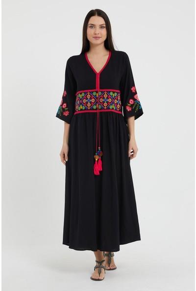 Valewoman Nakışlı Viskon Elbise
