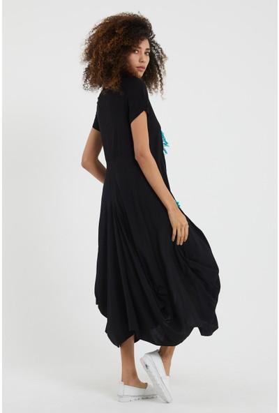 Valewoman Yarım Kollu Nakışlı Viskon Elbise