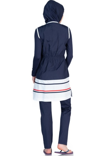 Alfasa 1274 Uzun Kol Pantolon Çapa Desenli Yelekli Tam Kapalı Tesettür Mayo Lacivert