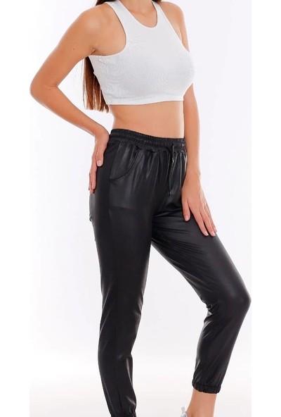 Limelight Deri Görünümlü Kadın Pantolon