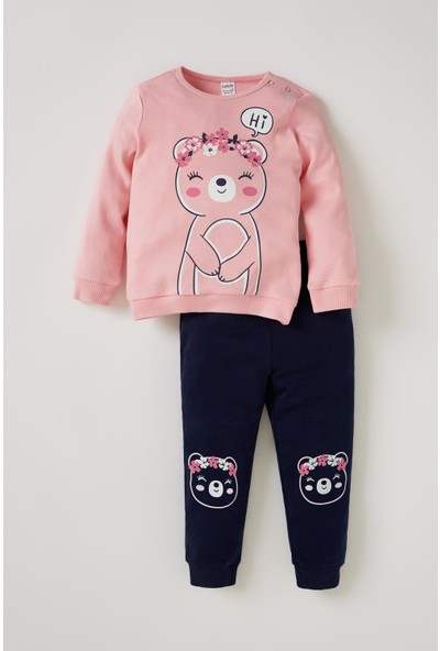 DeFacto Kız Bebek Sevimli Ayıcık Baskılı Sweatshirt ve Eşofman Takımı