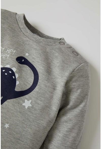 DeFacto Erkek Bebek Dinozor Baskılı Sweatshirt ve Eşofman Altı