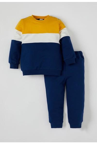 DeFacto Erkek Bebek Renk Bloklu Sweatshirt ve Jogger Eşofman Alt Takım