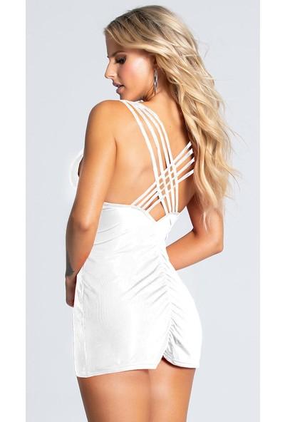 Culotte Kadın Beyaz Biye Detaylı Süper Mini Elbise