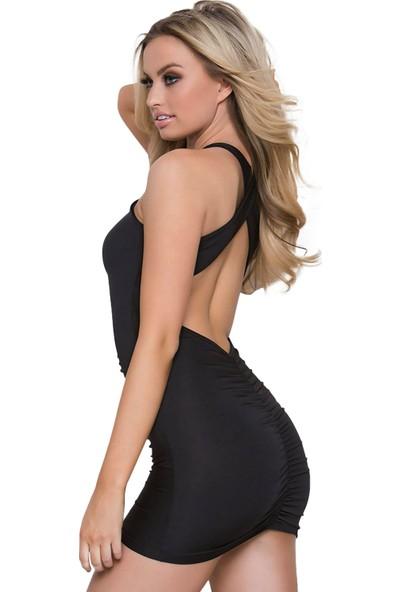 Culotte Siyah Çapraz Sırt Detaylı Süper Mini Elbise