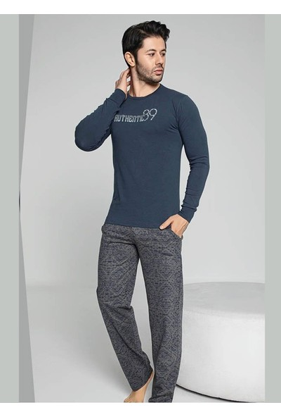 Akare 341 Pamuklu Mevsimlik Cepli Erkek Pijama Takımı Ev Pijaması