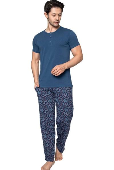 Akare 708 Pamuklu Kısa Kollu Cepli Yazlık Erkek Pijama Takımı Ev Pijaması