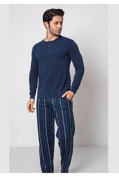 Akare 346 Pamuklu Mevsimlik Cepli Erkek Pijama Takımı Ev Pijaması
