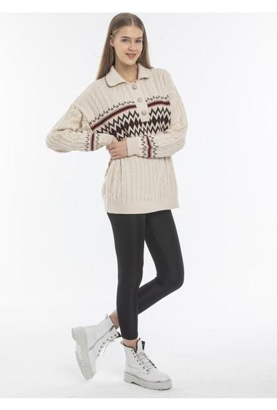 Hot Fashion Kadın Desenli Oversize Kazak
