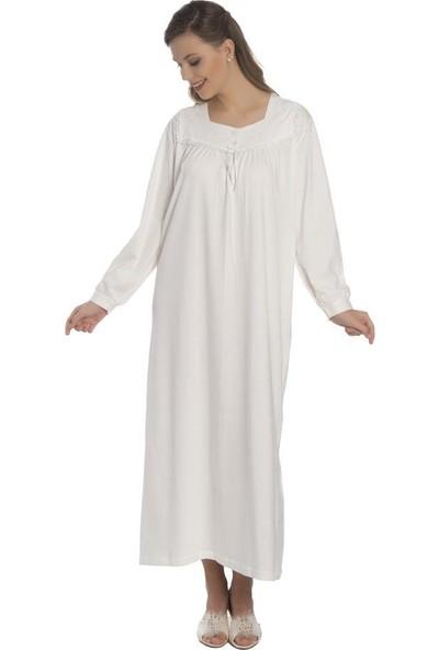 Akala Akala-Dy Pamuklu Uzun Kol Penye Kadın Gecelik 9002