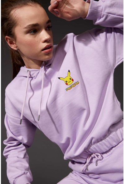 DeFacto Pokemon Lisanslıbeli Lastiklicrop Sweatshirt