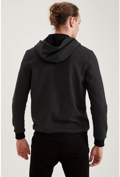 DeFacto Slim Fit Kapüşonlu Fermuarlı Sweatshirt