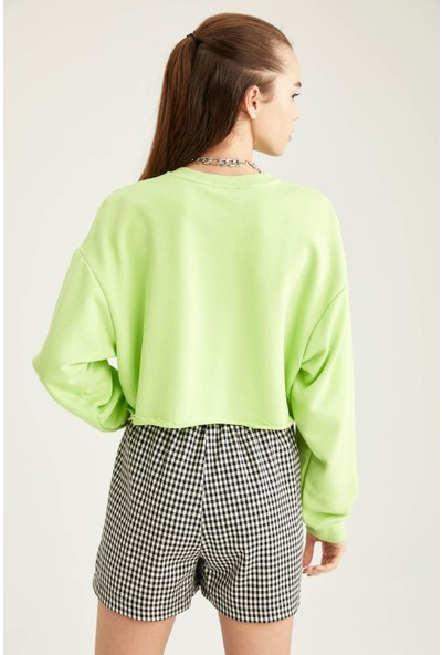 DeFacto Kesik Detaylı Oversize Crop Sweatshirt