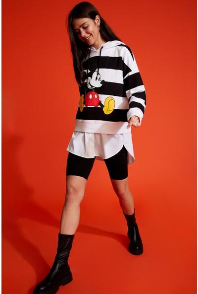 DeFacto Mickey Mouse Lisanslıkapüşonlu Sweatshirt