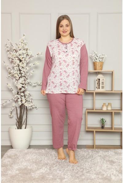 Tampap Kadın Büyük Beden Pijama Takımı Pamuklu Gül Kurusu Pijama Takımı 5479