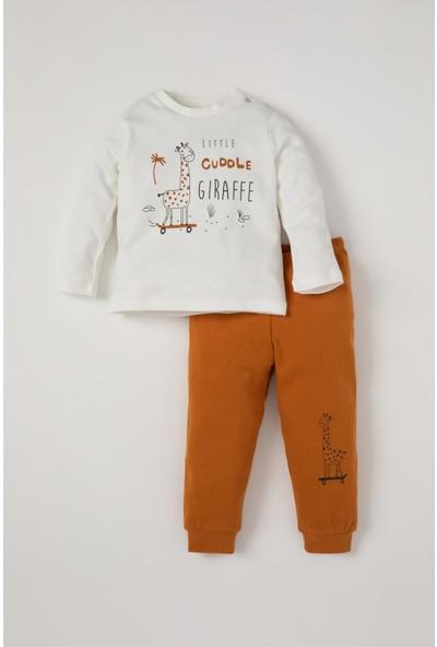 DeFacto Erkek Bebek Sevimli Zürafa Baskılı Sweatshirt ve Eşofman Altı Takımı