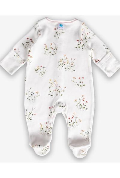Ozmoz Steril Giyime Hazır Kız Bebek Organik Patikli Tulum