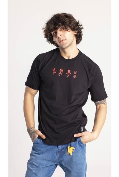 Xhan Siyah Önü & Arkası Baskılı Oversize T-Shirt 1KXE1-44663-02