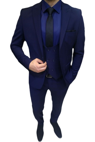 Novus Lacivert Yelekli Erkek Takım Elbise Slim Fit